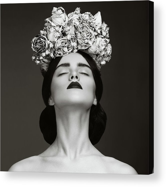 Crown Acrylic Print featuring the photograph Beautiful Woman With Wreath Of Flowers by Lambada