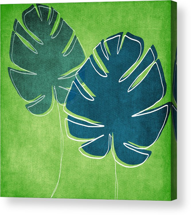 Palm Tree Acrylic Print featuring the painting Blue and Green Palm Leaves by Linda Woods