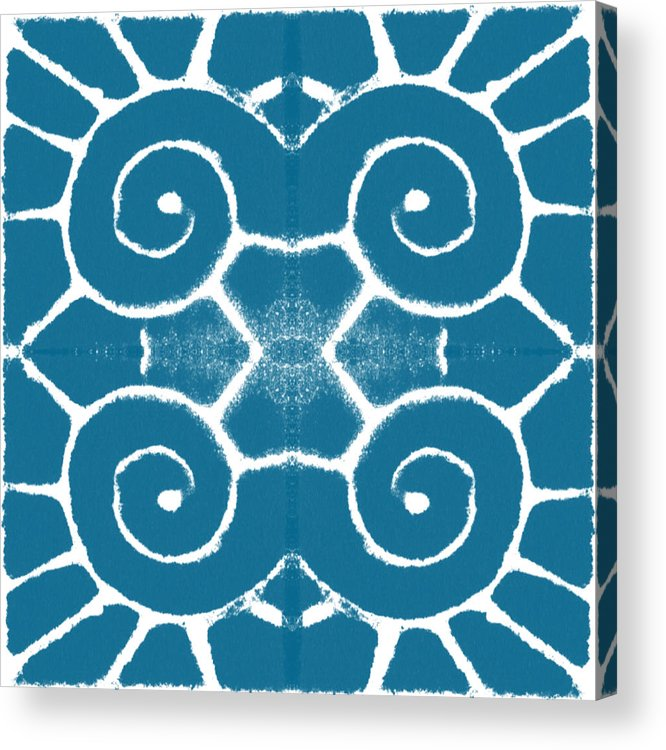 Wave Acrylic Print featuring the painting Blue and White Wave Tile- abstract art by Linda Woods