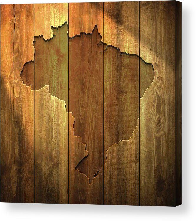 Material Acrylic Print featuring the digital art Brazil Map On Lit Wooden Background by Bgblue