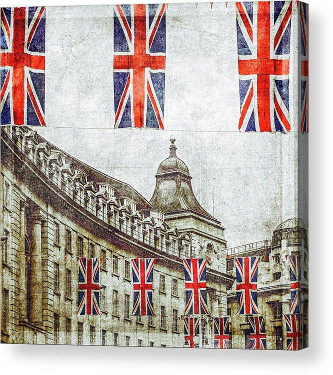 Hanging Acrylic Print featuring the photograph British Flags Flying Above Regent St by Doug Armand