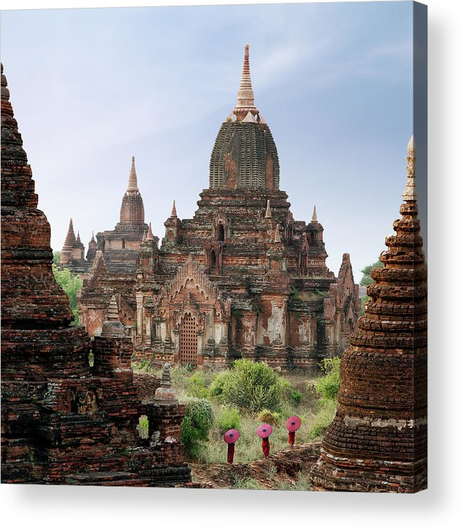 Tranquility Acrylic Print featuring the photograph Buddhist Monks Walking Past Temple by Martin Puddy