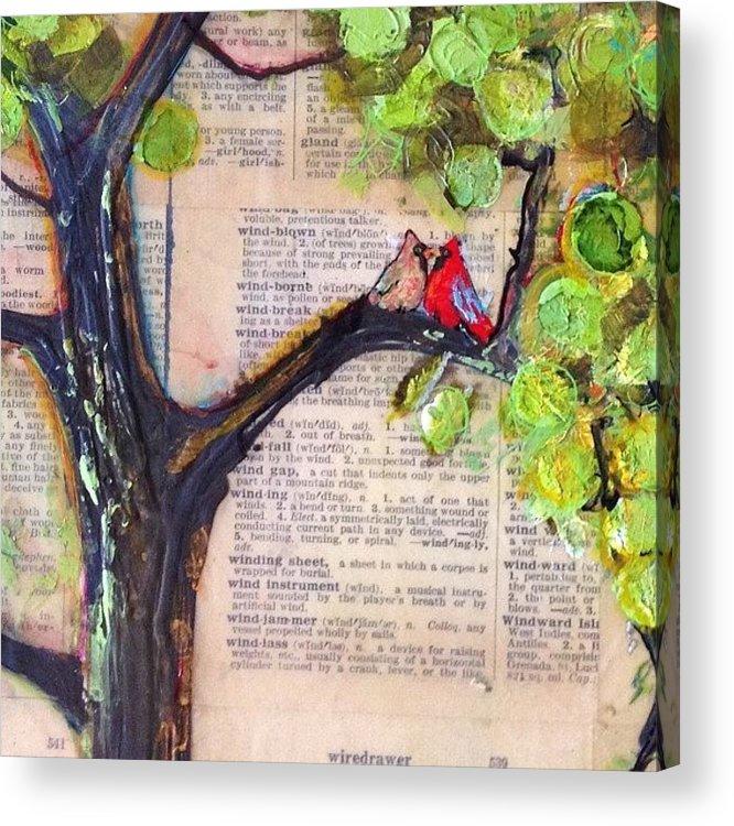 Art Acrylic Print featuring the photograph Cardinal Couple Detail by Blenda Studio