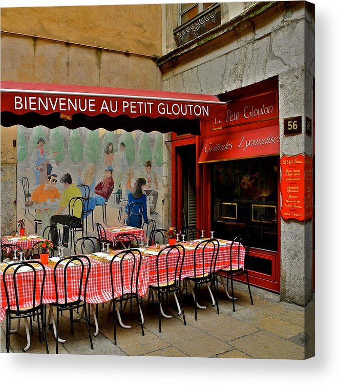 Lyon Acrylic Print featuring the photograph Charming French Outdoor Cafe by Kirsten Giving