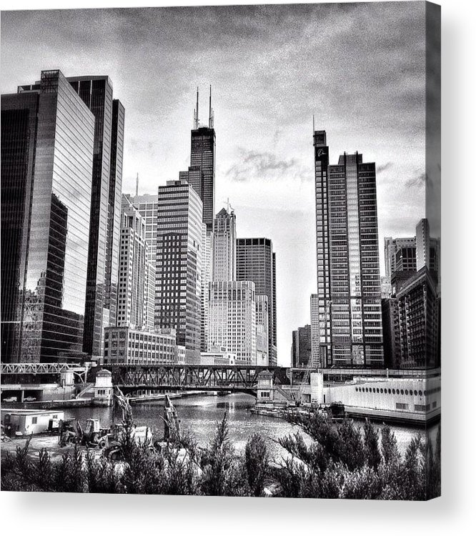 America Acrylic Print featuring the photograph Chicago River Buildings Black and White Photo by Paul Velgos