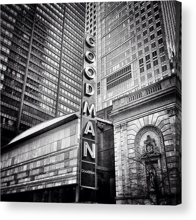 America Acrylic Print featuring the photograph Chicago Goodman Theatre Sign Photo by Paul Velgos