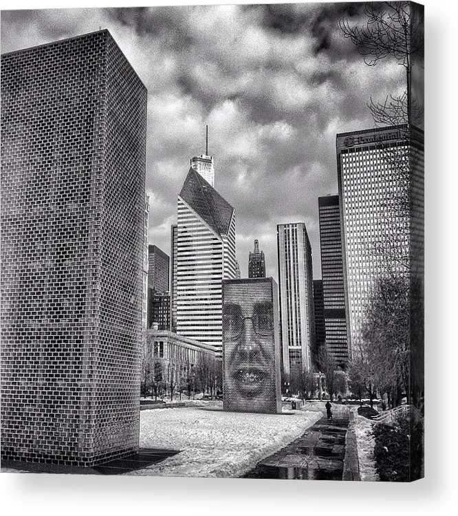 America Acrylic Print featuring the photograph Chicago Crown Fountain Black and White Photo by Paul Velgos