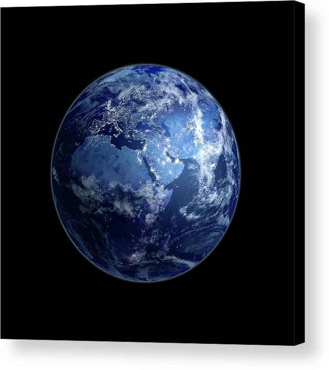 Globe Acrylic Print featuring the digital art Earth At Night, Artwork by Science Photo Library - Andrzej Wojcicki
