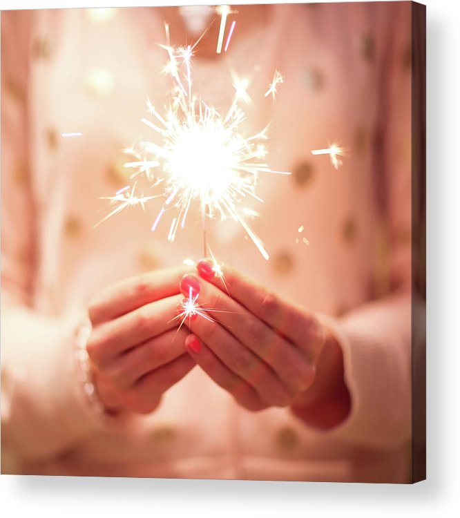 Firework Display Acrylic Print featuring the photograph Girl Holding Small Sparkler by Sasha Bell
