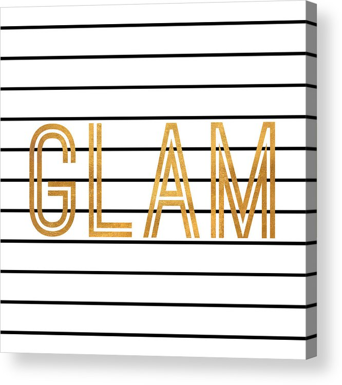 Glam Acrylic Print featuring the digital art Glam Pinstripe Gold by South Social Studio