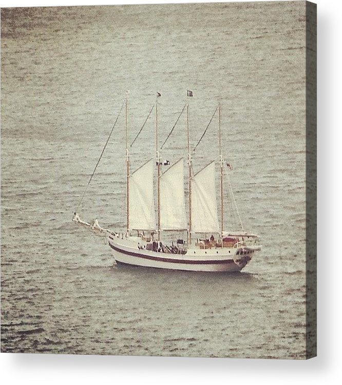 Ship Acrylic Print featuring the photograph Gray Day And A Tall Ship by Jill Tuinier