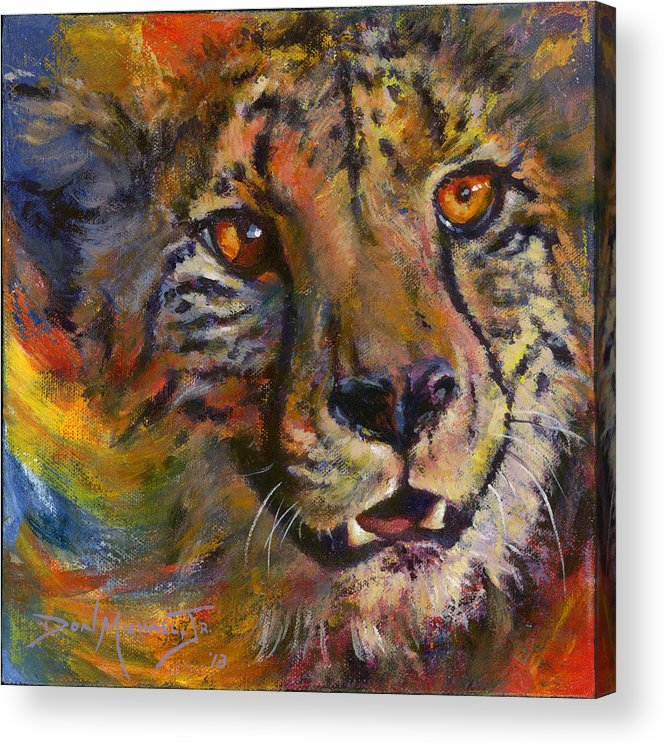 Cheetah Acrylic Print featuring the painting I Spy by Don Michael Jr