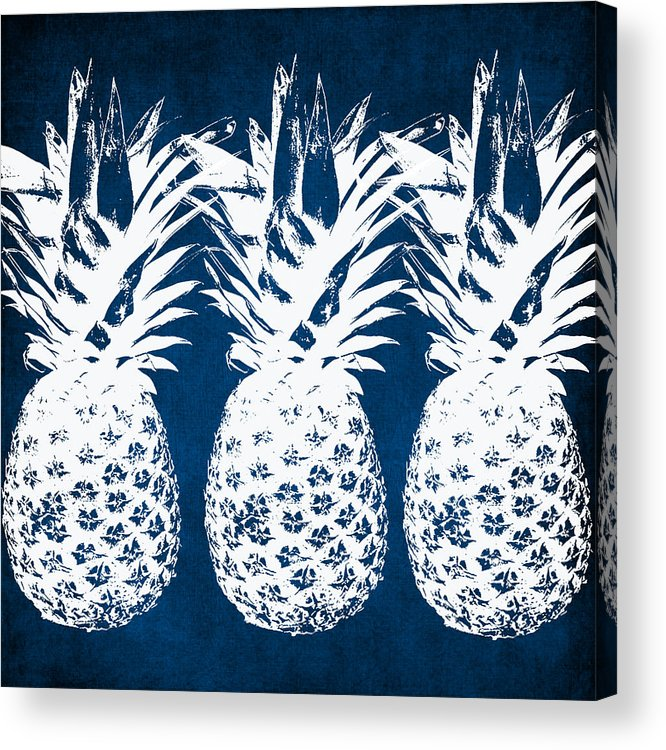 Indigo Acrylic Print featuring the painting Indigo and White Pineapples by Linda Woods