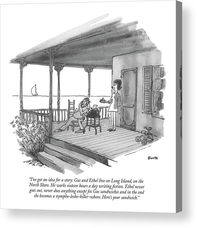 Marriage Acrylic Print featuring the drawing I've Got An Idea For A Story: Gus And Ethel Live by George Booth