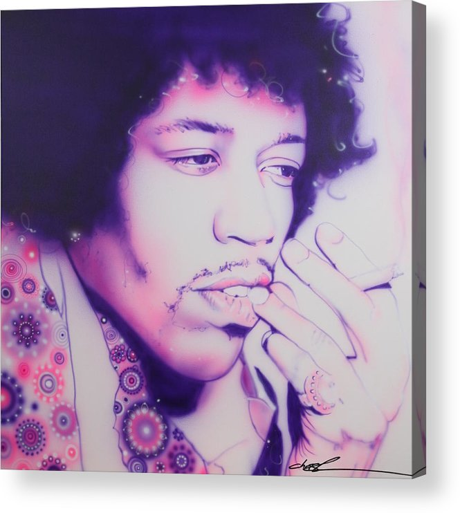 60s Acrylic Print featuring the painting Jimi by Christian Chapman Art