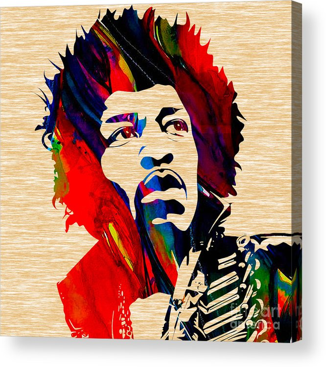 Jimi Hendrix Art Acrylic Print featuring the mixed media Jimi Hendrix Collection by Marvin Blaine
