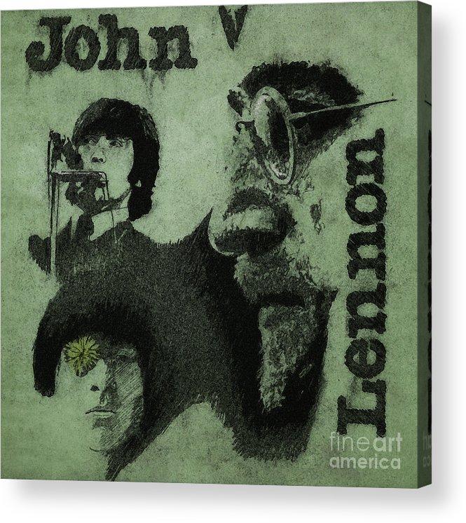 John Lennon Acrylic Print featuring the drawing John Lennon by Drawspots Illustrations