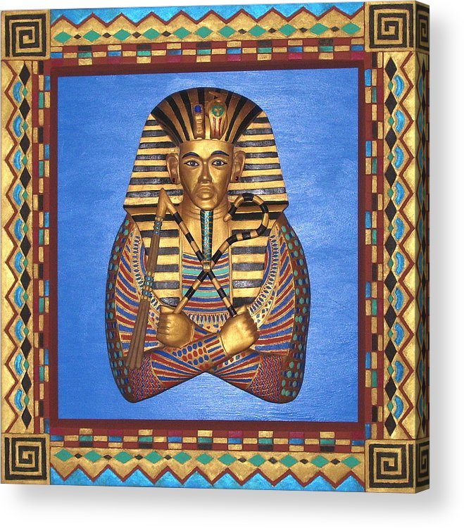 Sculpture Acrylic Print featuring the mixed media KING TUT - Handcarved by Michael Pasko