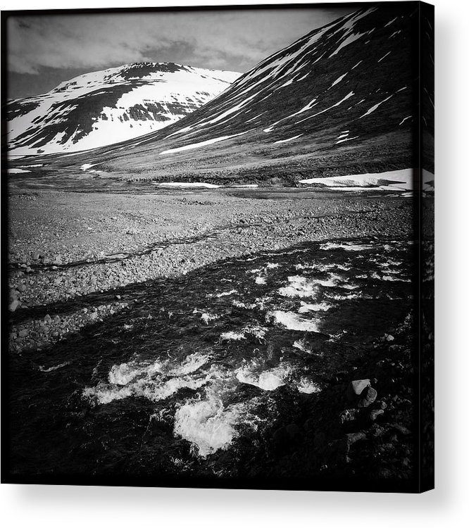 Landscape Acrylic Print featuring the photograph Landscape North Iceland black and white by Matthias Hauser