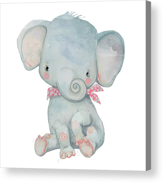 Watercolor Painting Acrylic Print featuring the digital art Little Pocket Elephant by Cofeee