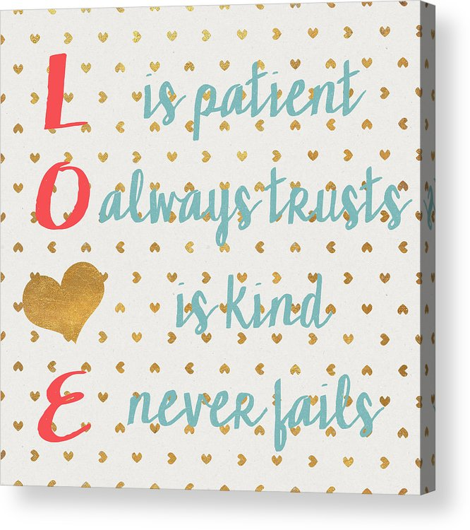 Love Acrylic Print featuring the digital art Love With Gold Hearts by Sd Graphics Studio