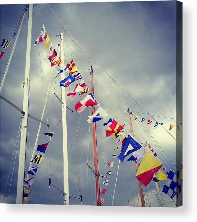 Pole Acrylic Print featuring the photograph Marine Signal Flags On Mast Against A by Jodie Griggs