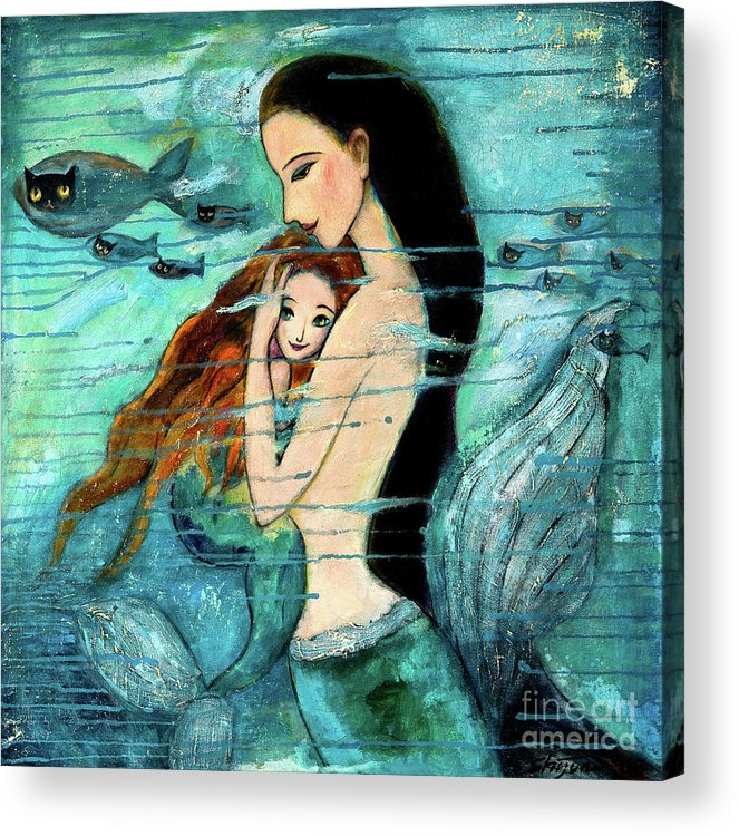 Mermaid Art Acrylic Print featuring the painting Mermaid Mother and Child by Shijun Munns