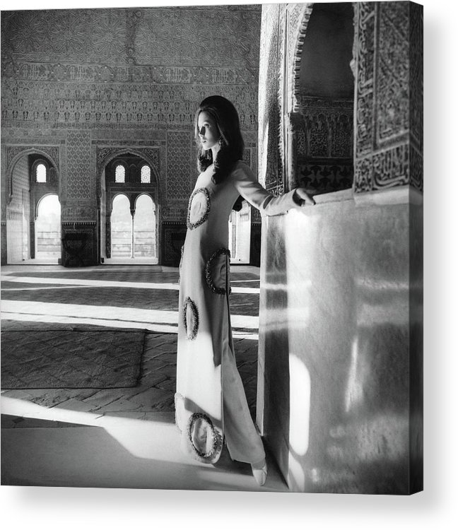 Fashion Acrylic Print featuring the photograph Model In The El Mirador De Lindaraja by Henry Clarke