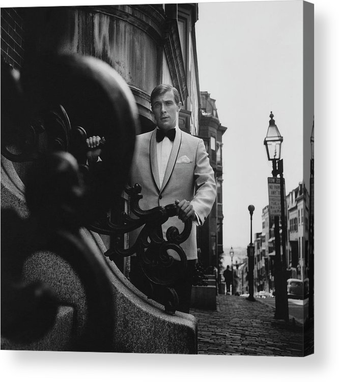 Exterior Acrylic Print featuring the photograph Model Wearing A Formal Craft Suit by Leonard Nones