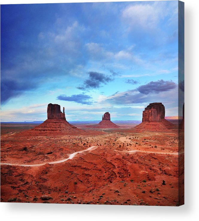 Tranquility Acrylic Print featuring the photograph Monument Valley Cool Light After Sunset by Utah-based Photographer Ryan Houston