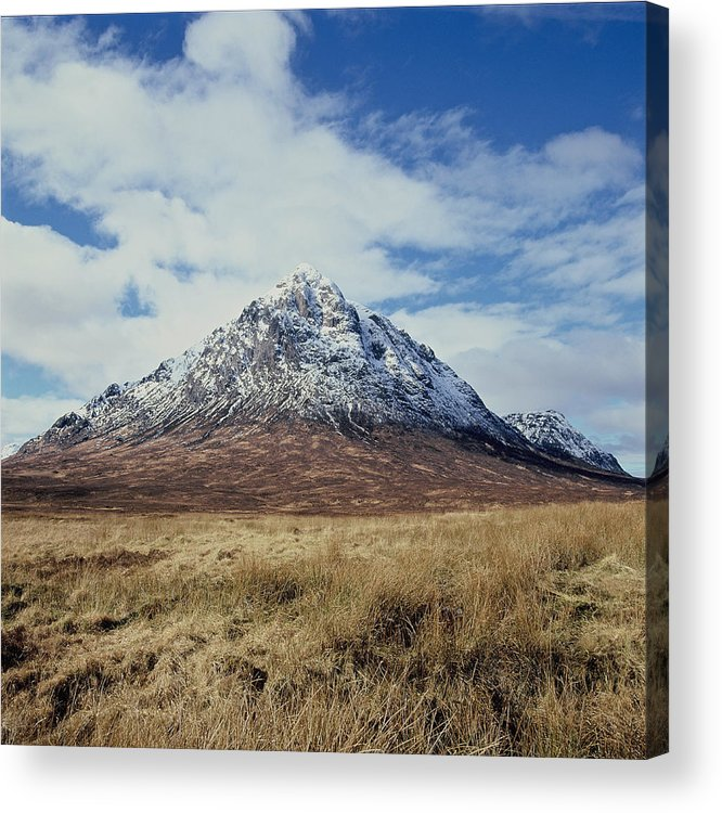Scenics Acrylic Print featuring the photograph Mountain peak with clouds by Heidi Coppock-Beard