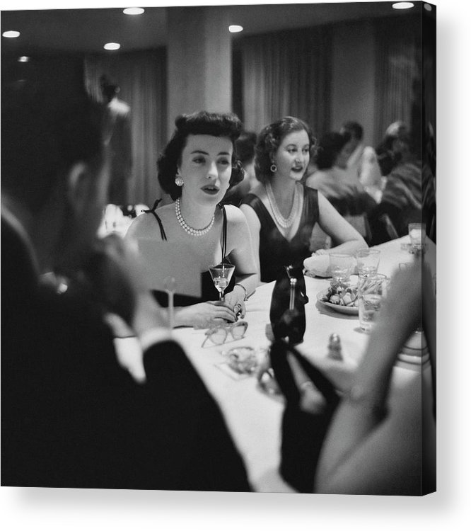 Food Acrylic Print featuring the photograph Mrs. Sidney Wood And Mrs. Stass Reed Sitting by Clifford Coffin