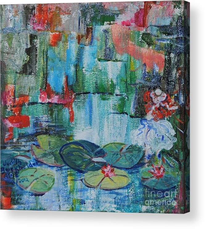Pond Acrylic Print featuring the painting Nymph's Lily Pond- SOLD by Judith Espinoza