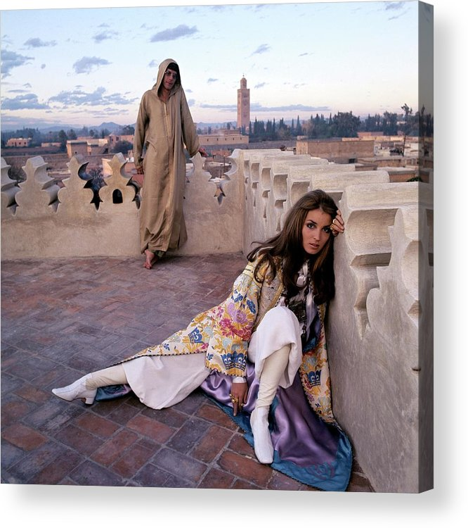 Fashion Acrylic Print featuring the photograph Paul Getty Jr And Talitha Getty On A Terrace by Patrick Lichfield