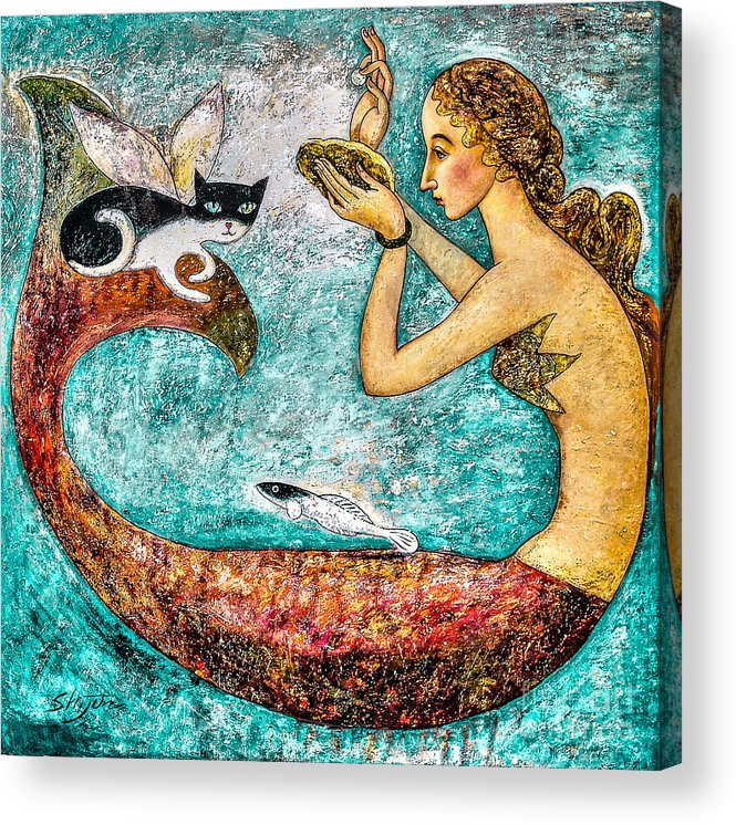 Mermaid Art Acrylic Print featuring the painting Pearl by Shijun Munns