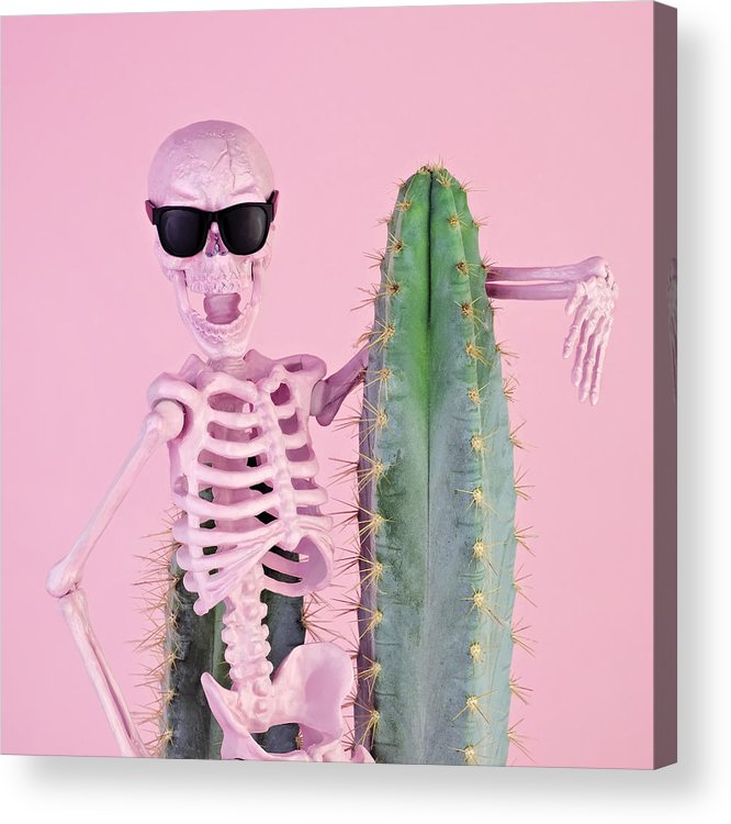 Cool Attitude Acrylic Print featuring the photograph Pink Skeleton With Cactus by Juj Winn