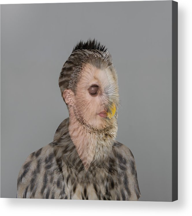 People Acrylic Print featuring the photograph Portrait Of Young Man With Owl Overlay by Nisian Hughes