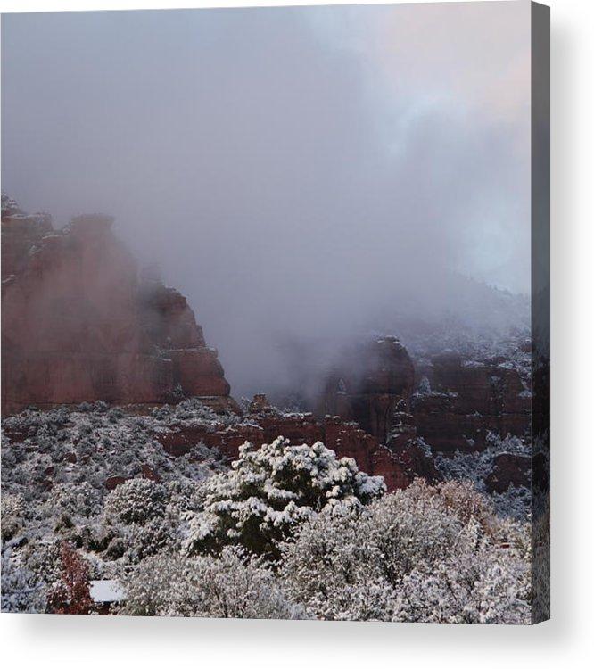 Scenics Acrylic Print featuring the photograph Red Rock Fog Snow Sedona Arizona by Sassy1902