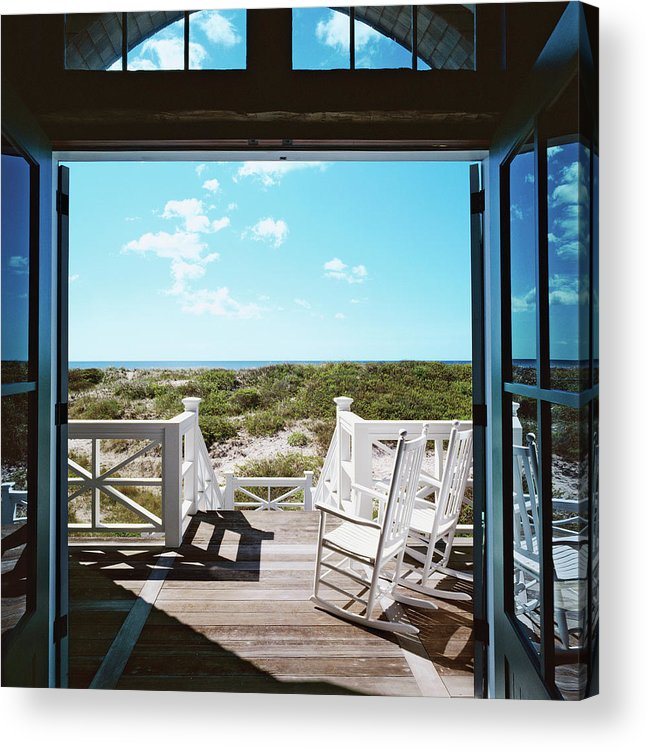No People Acrylic Print featuring the photograph Rocking Chairs On Decking by Durston Saylor