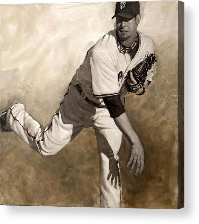 Ryan Vogelsong Acrylic Print featuring the painting Ryan Vogelsong Perseverence by Darren Kerr