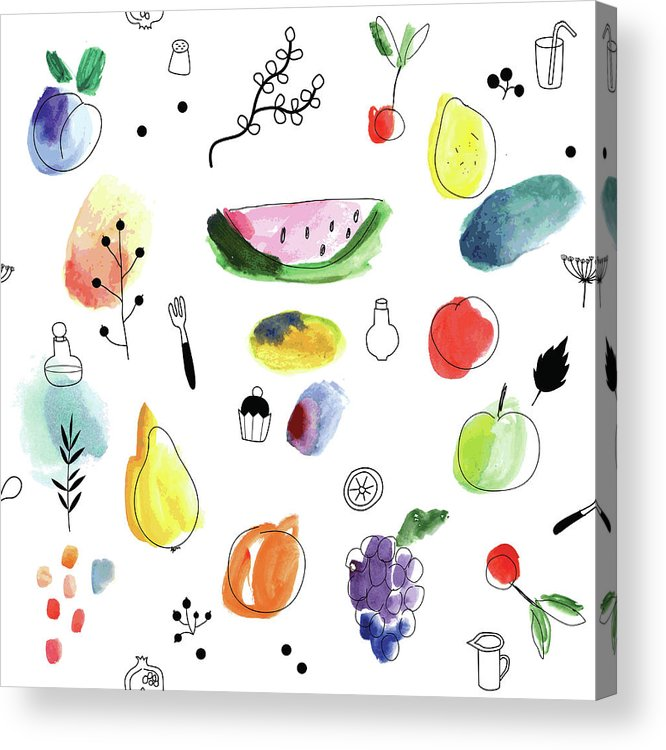 Cherry Acrylic Print featuring the digital art Seamless Pattern With Fruits, Berries by Loliputa
