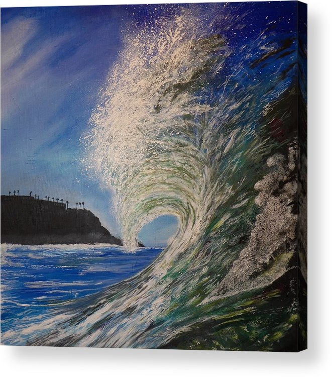 Waves Acrylic Print featuring the painting So Cal Wave by Jim Reale