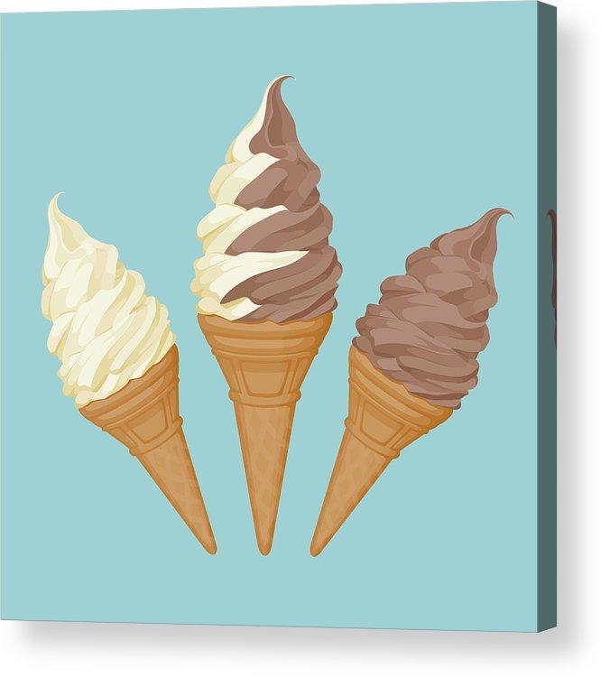 Vanilla Acrylic Print featuring the digital art Soft Ice Cream Cone by Saemilee