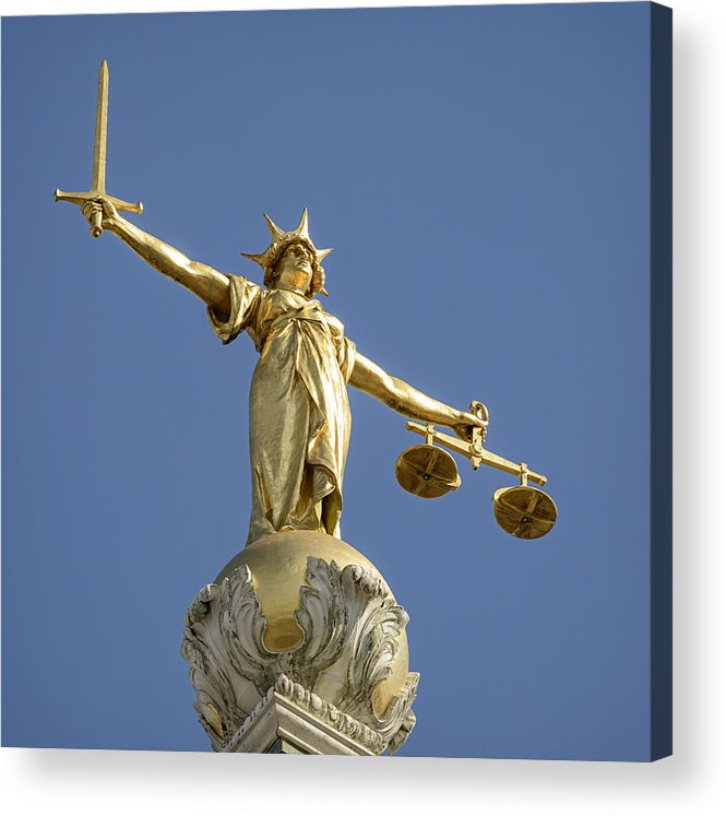 Punishment Acrylic Print featuring the photograph Statue of Lady Justice by Georgeclerk