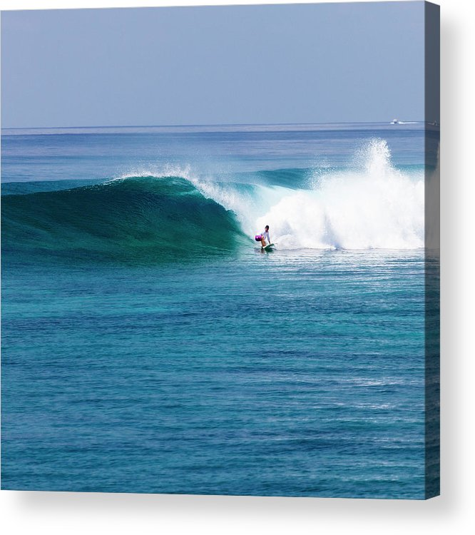 Recreational Pursuit Acrylic Print featuring the photograph Surfer Surfing A Wave by Subman