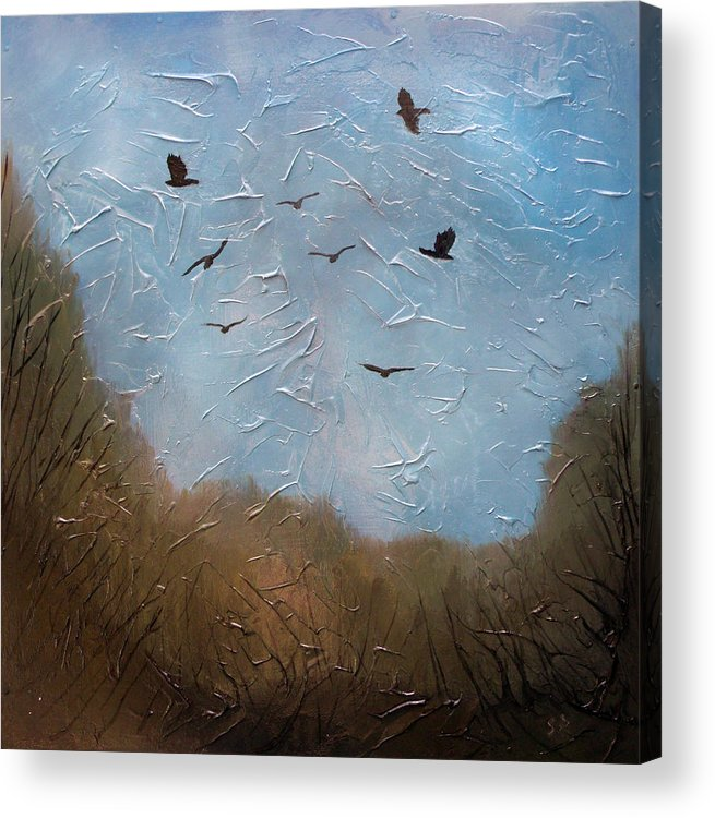 Landscape Acrylic Print featuring the painting The crows by Sergey Bezhinets