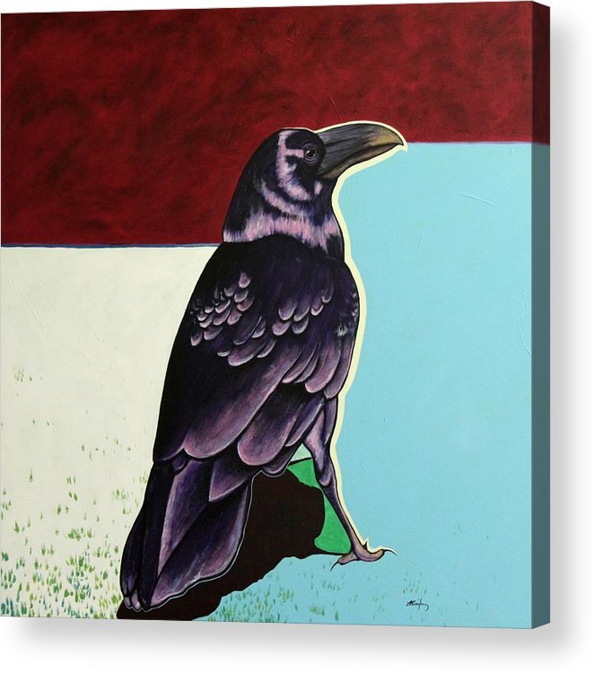 Wildlife Acrylic Print featuring the painting The Gossip - Raven by Joe Triano