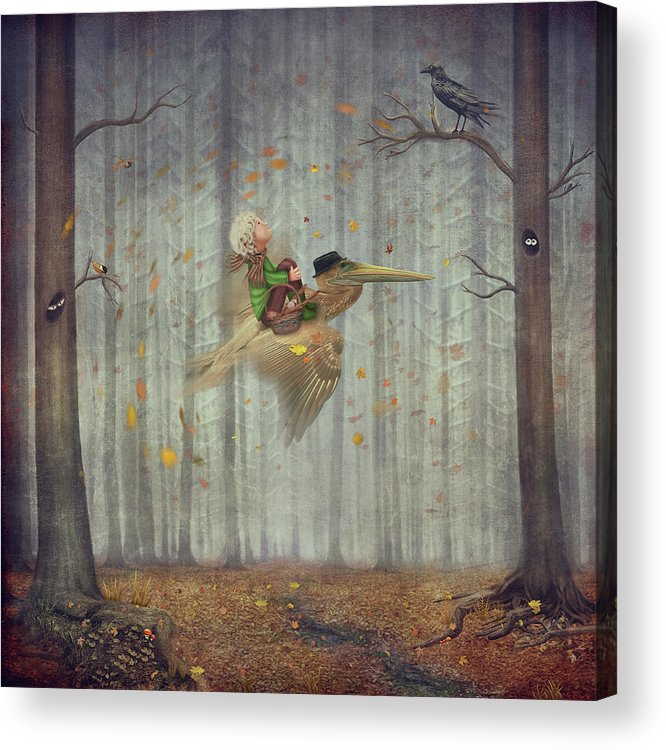 Flowerbed Acrylic Print featuring the digital art The Little Boy And Brown Pelican Fly by Maroznc