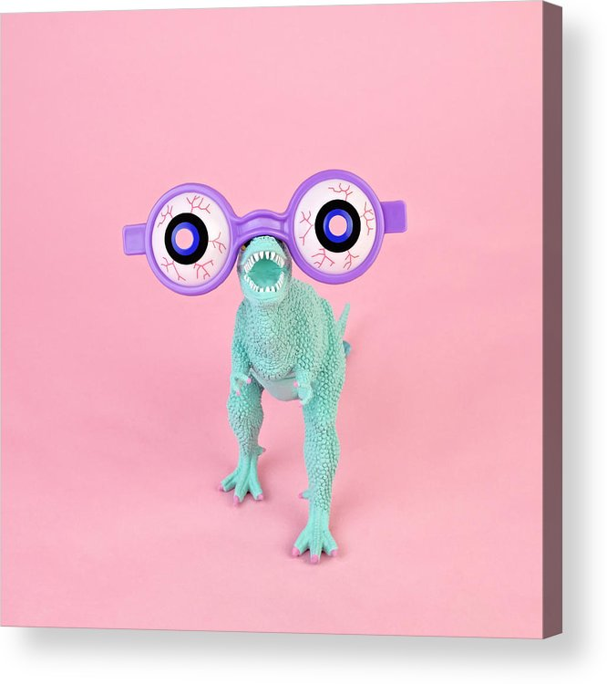 Purple Acrylic Print featuring the photograph Toy Dinosaur With Spooky Glasses by Juj Winn