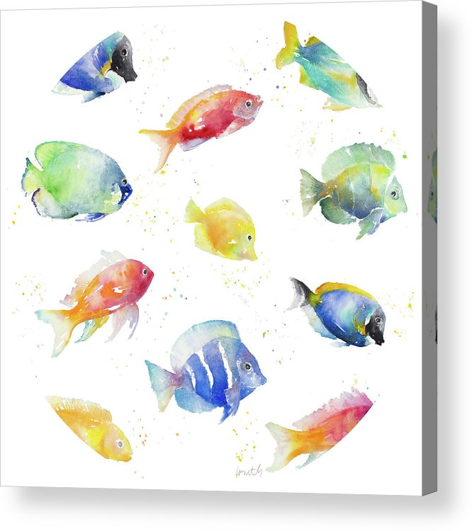 Tropical Acrylic Print featuring the painting Tropical Fish Round by Lanie Loreth